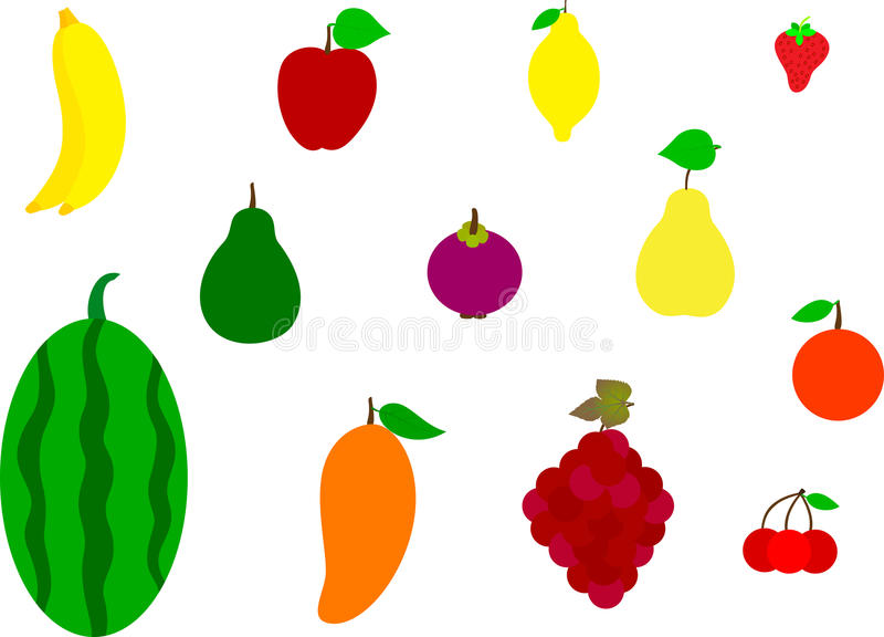 Ensemble d'icônes colorées de fruit de bande dessinée illustration libre de droits