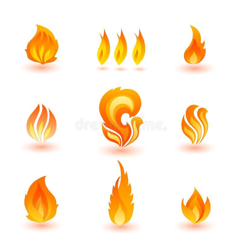 Ensemble d'icônes colorées de vecteur de flamme illustration de vecteur