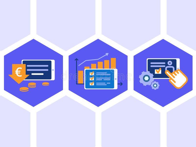 Ensemble d'icônes concernant pour ajourner le dispositif de PC : petit prix, hauts scores, arrangements simples Illustrations pla illustration stock