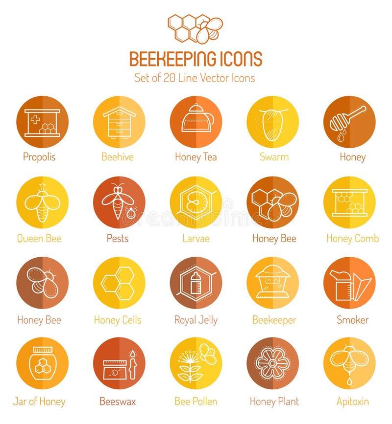 Ensemble d'icônes décrites de vecteur de miel et de l'apiculture illustration de vecteur