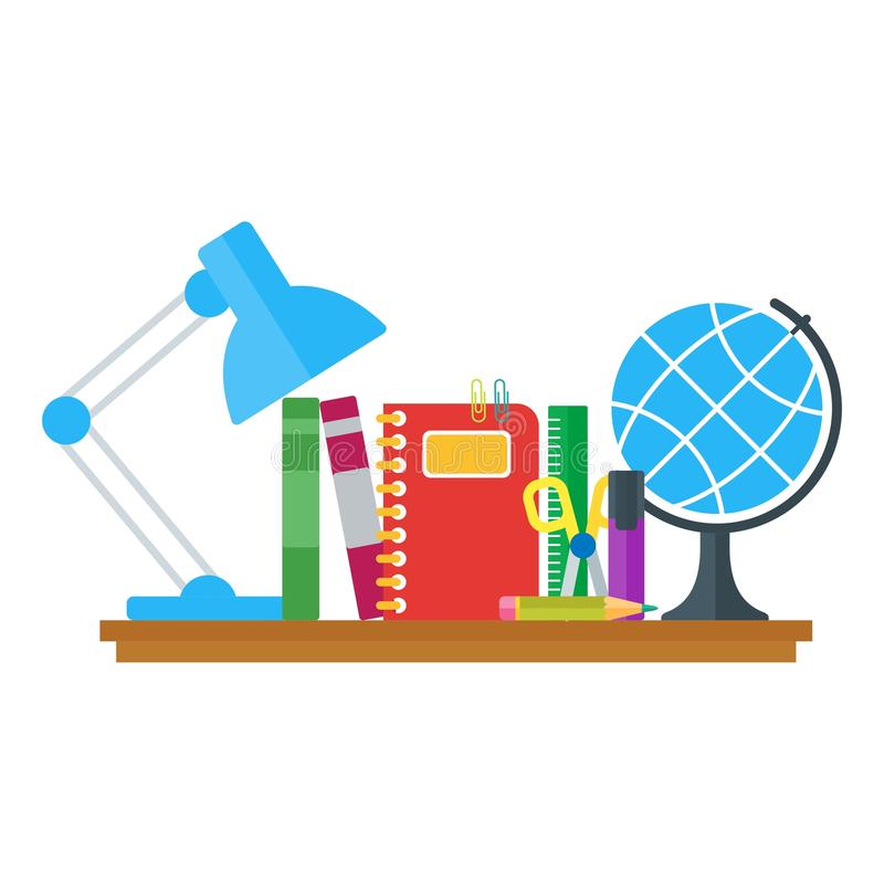 Ensemble d'icônes d'éducation sur la table illustration de vecteur