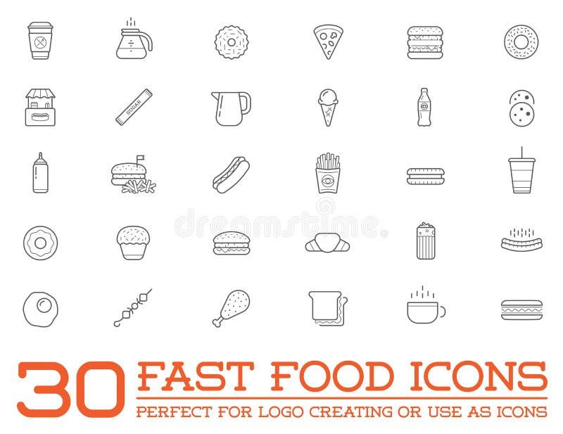 Ensemble d'icônes d'éléments d'aliments de préparation rapide de prêt-à-manger de vecteur illustration libre de droits
