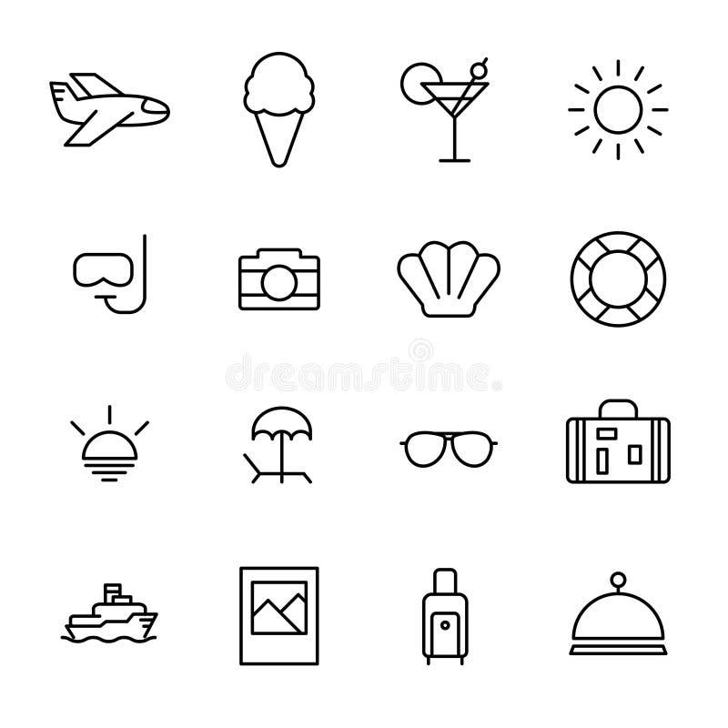 Ensemble d'icônes d'été dans la ligne style mince moderne illustration stock