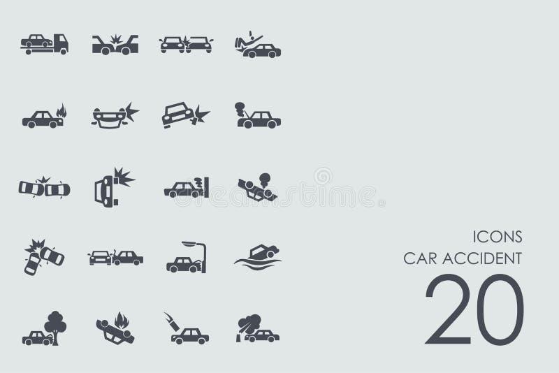 Ensemble d'icônes d'accident de voiture illustration libre de droits