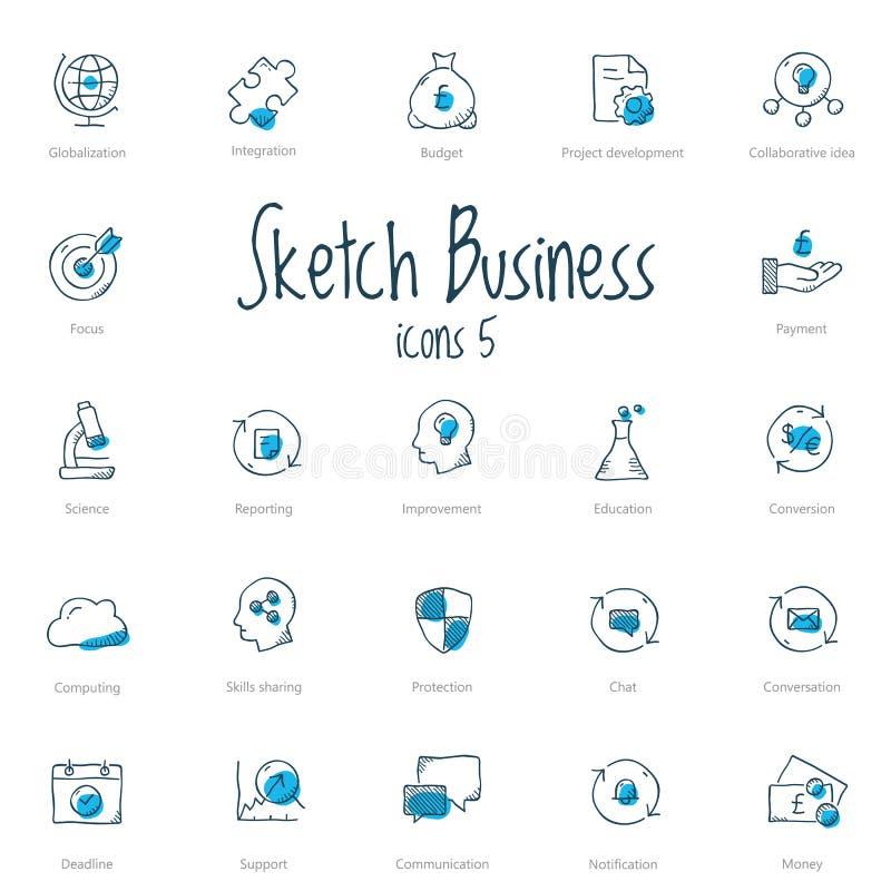 Ensemble d'icônes d'affaires de croquis avec l'accent bleu illustration stock