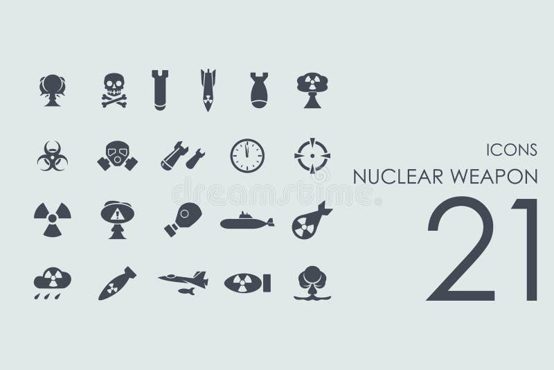 Ensemble d'icônes d'arme nucléaire illustration stock