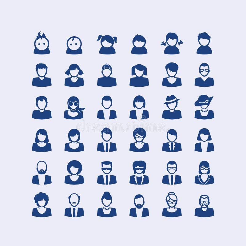 Ensemble d'icônes d'avatar illustration stock