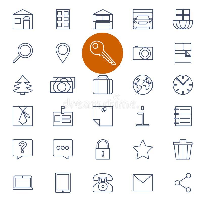 Ensemble d'icônes d'ensemble en vente d'immobiliers illustration de vecteur