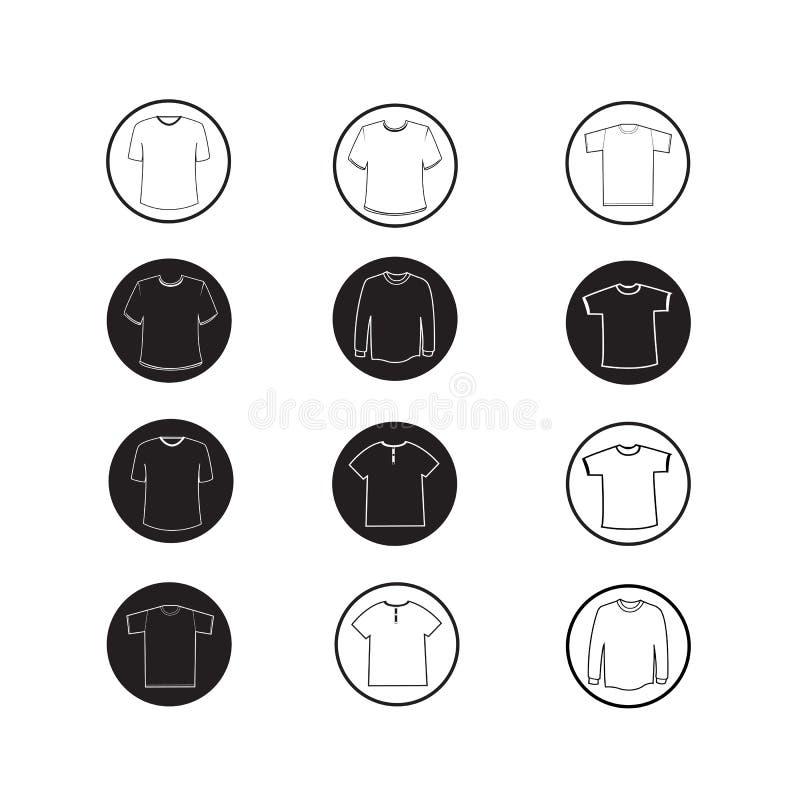 Ensemble d'icônes d'habillement d'icône de chemise et de T-shirt d'habillement illustration libre de droits
