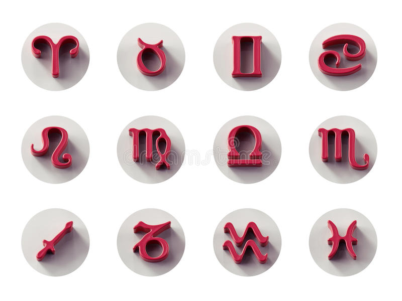 Ensemble d'icônes d'isolement du zodiaque 3D pour le Web et la copie illustration stock