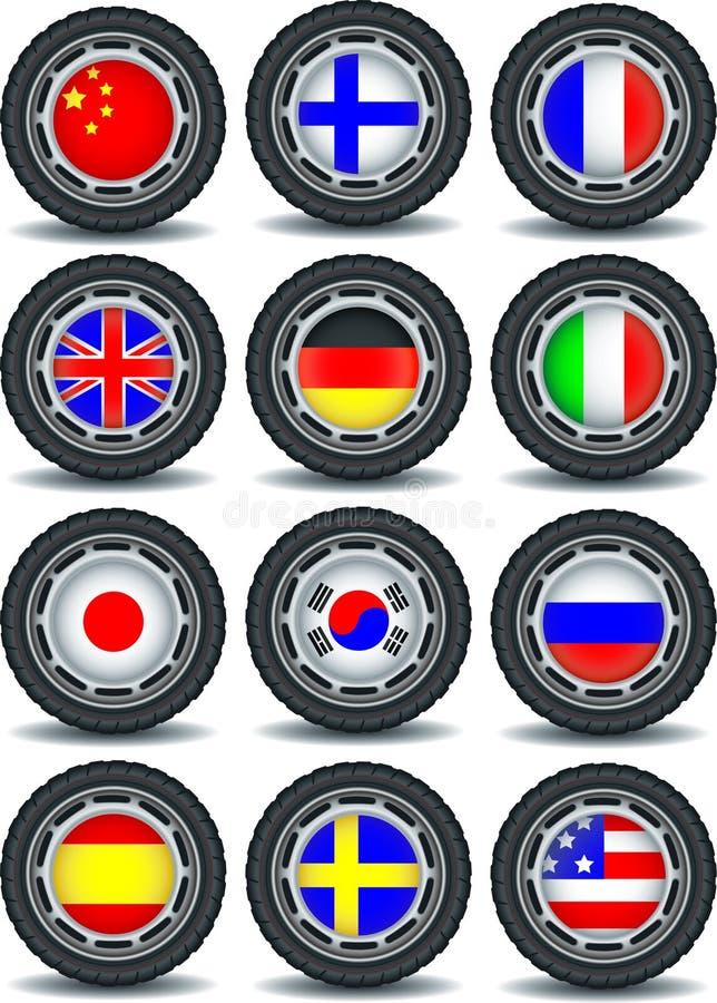 Ensemble d'icônes d'ordinateur avec des drapeaux sur le pneu illustration stock