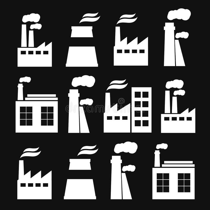 Ensemble d'icônes de bâtiment d'usine d'industrie illustration libre de droits