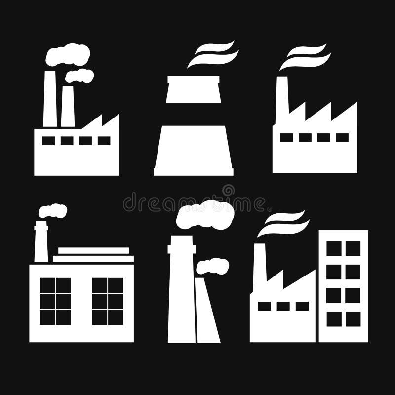 Ensemble d'icônes de bâtiment d'usine d'industrie Usine et usine, puissance et fumée illustration de vecteur