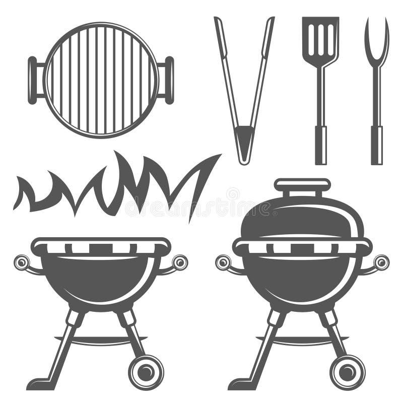 Ensemble d'icônes de barbecue et de gril dans le style monochrome illustration stock