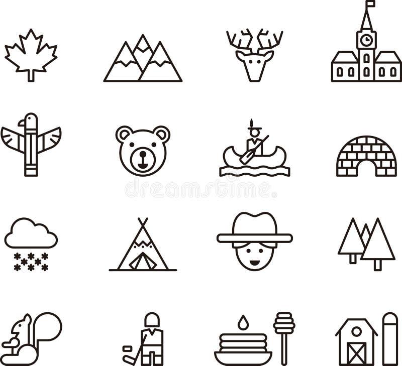 Ensemble d'icônes de Canada d'ensemble illustration libre de droits