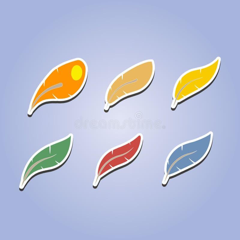 Ensemble d'icônes de couleur avec des plumes illustration de vecteur