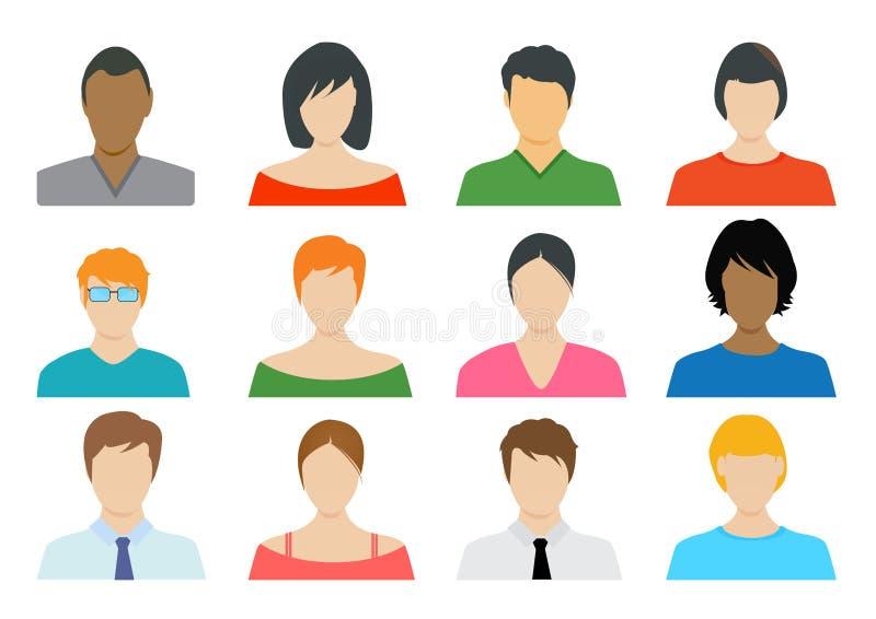 Ensemble d'icônes de couleur d'avatar pour le profil de Web - illustration illustration stock