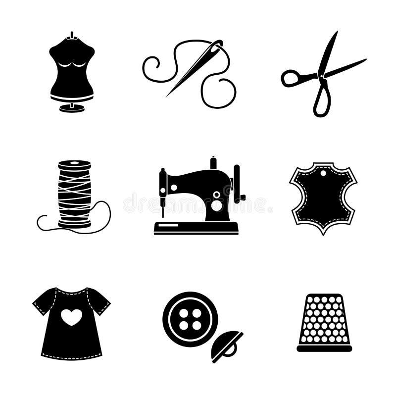 Ensemble d'icônes de couture - machine, ciseaux, fil illustration stock