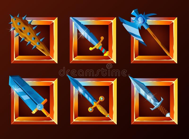 Ensemble d'icônes de décoration pour des jeux illustration libre de droits