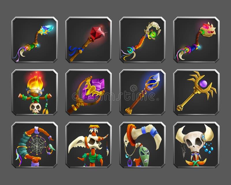 Ensemble d'icônes de décoration pour des jeux Collection d'armes magiques médiévales illustration stock