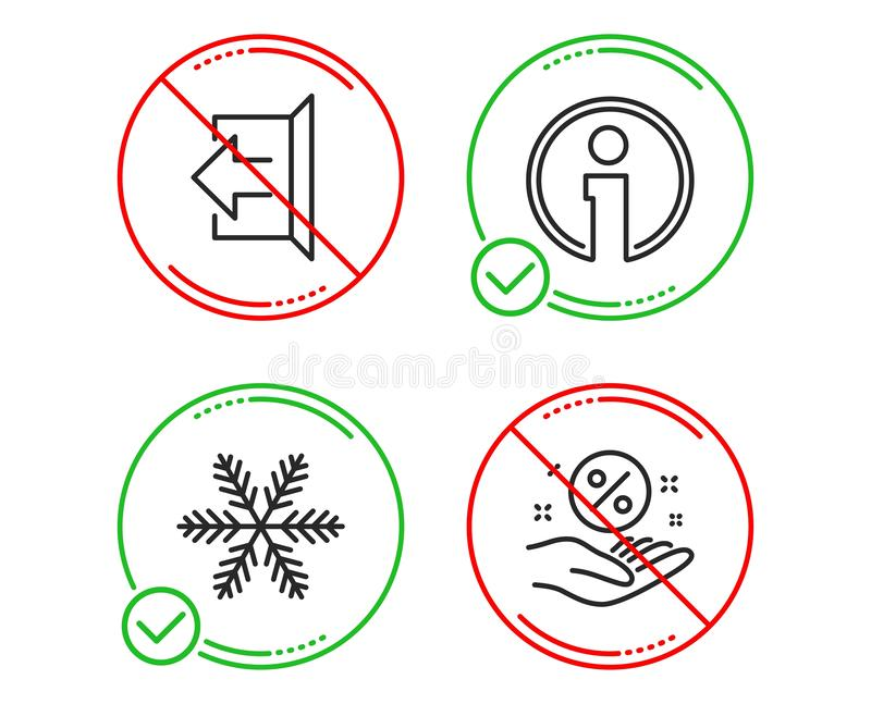 Ensemble d'ic?nes de flocon de neige, d'information et de signe  Signe de pour cent de pr?t Climatisation, l'information, d?conne illustration stock