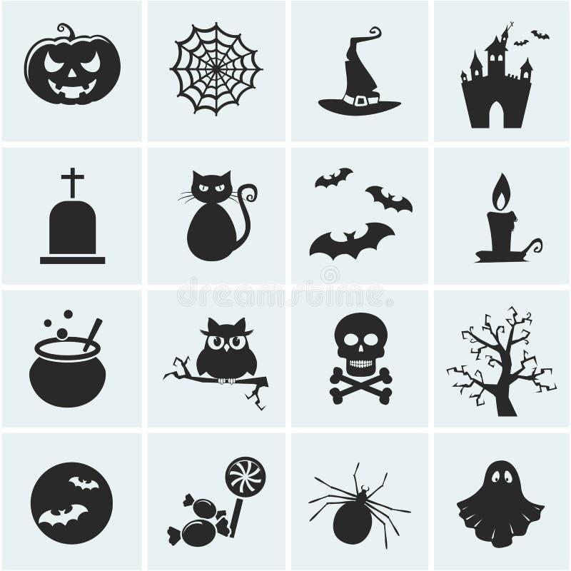 Ensemble d'icônes de Halloween de vecteur. illustration de vecteur
