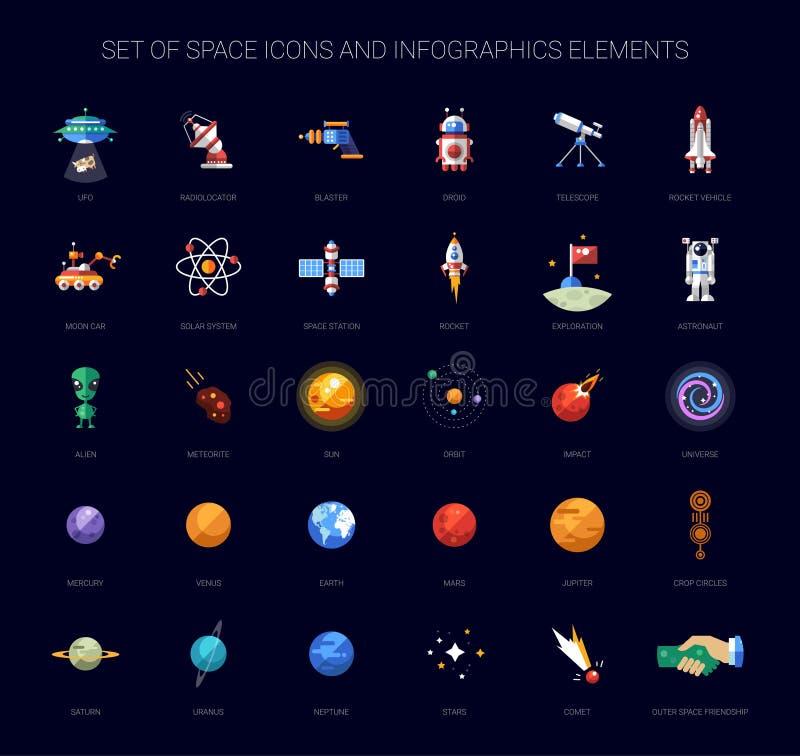 Ensemble d'icônes de l'espace et d'éléments d'infographics illustration libre de droits