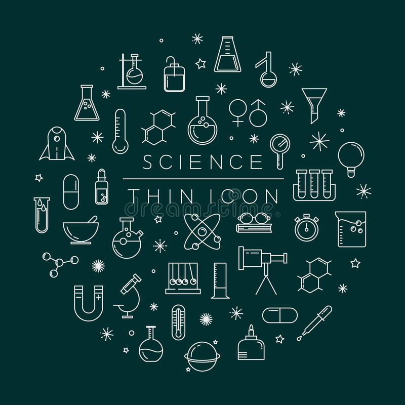 Ensemble d'icônes de la science illustration libre de droits