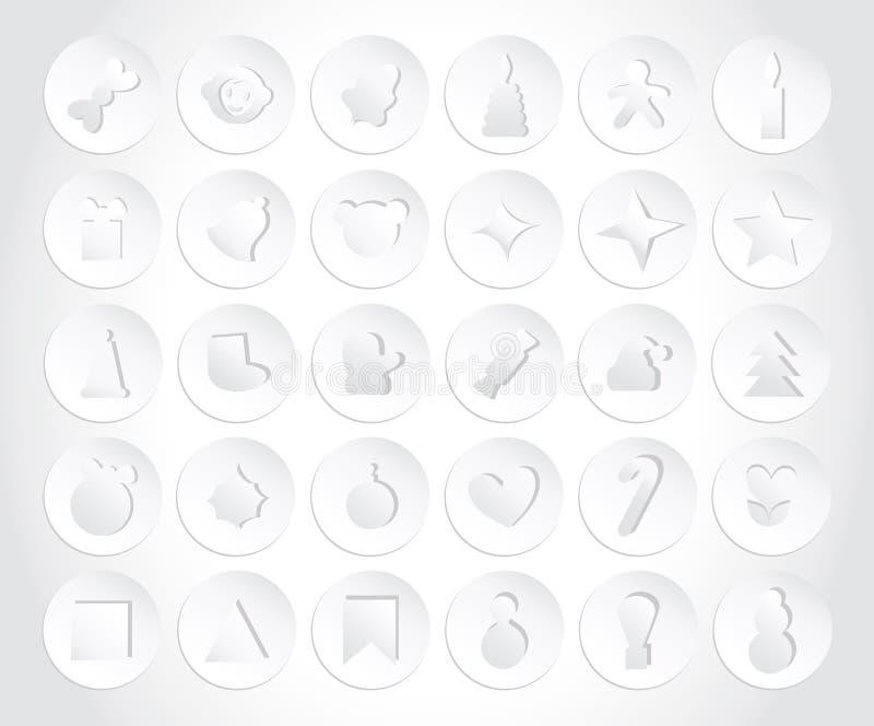 Ensemble d'icônes de Noël dans le style de papier Style plat photos stock