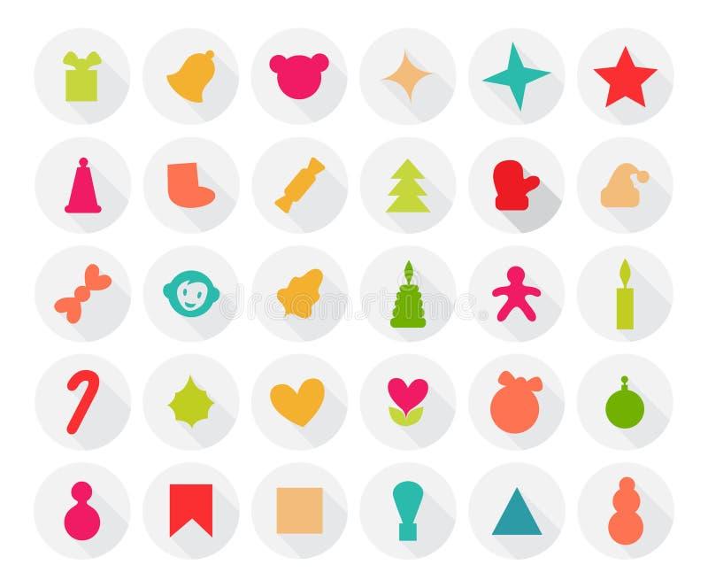 Ensemble d'icônes de Noël Style plat avec photographie stock