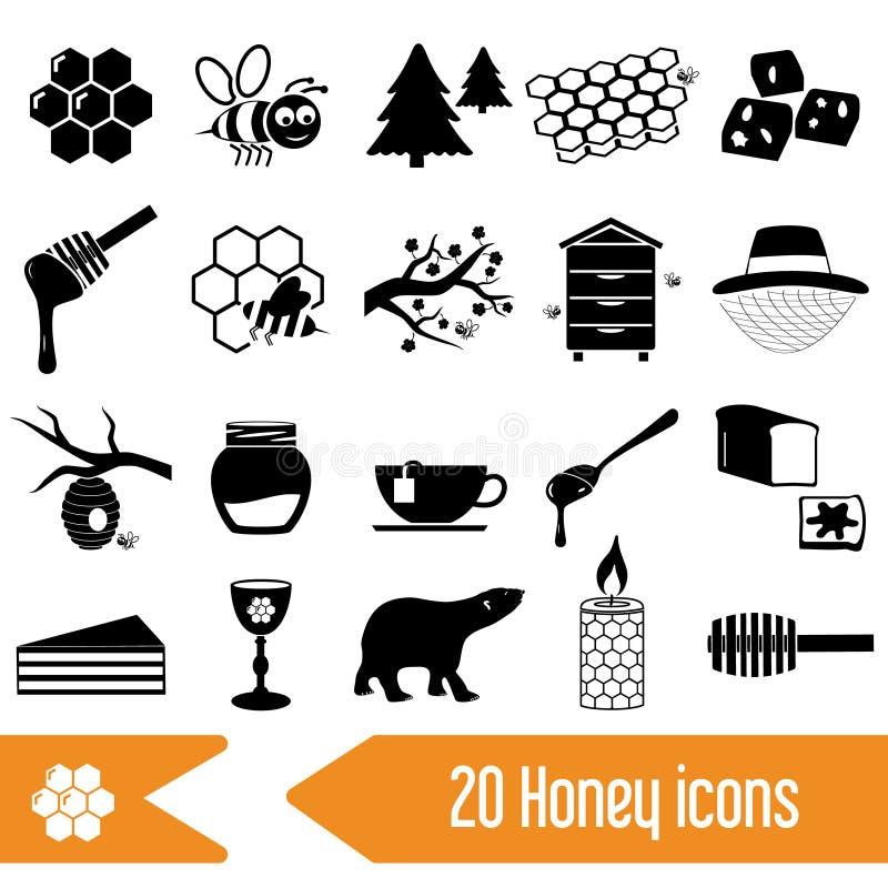 Ensemble d'icônes de noir de thème de miel illustration stock