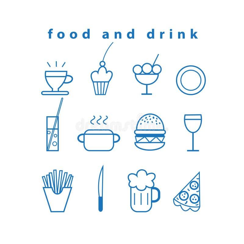 Ensemble d'icônes de nourriture et de boissons de vecteur illustration de vecteur
