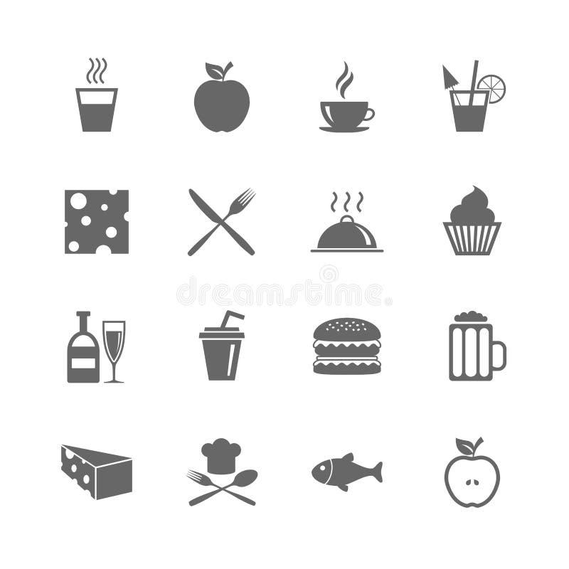 Ensemble d'icônes de nourriture et de boissons Signes de restaurant illustration stock