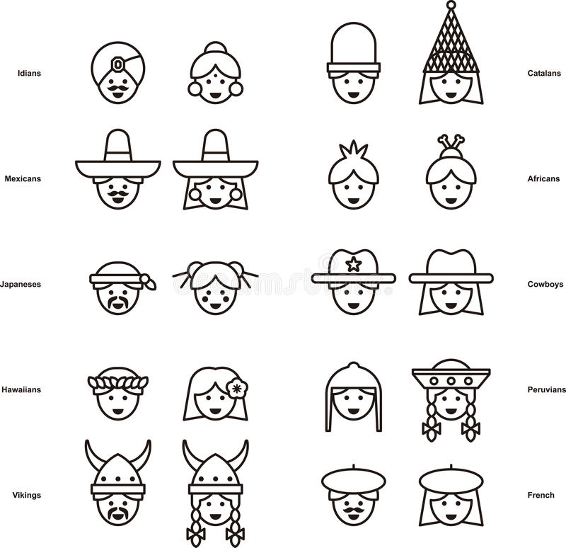 Ensemble d'icônes de PERSONNES de partout dans le monde illustration stock