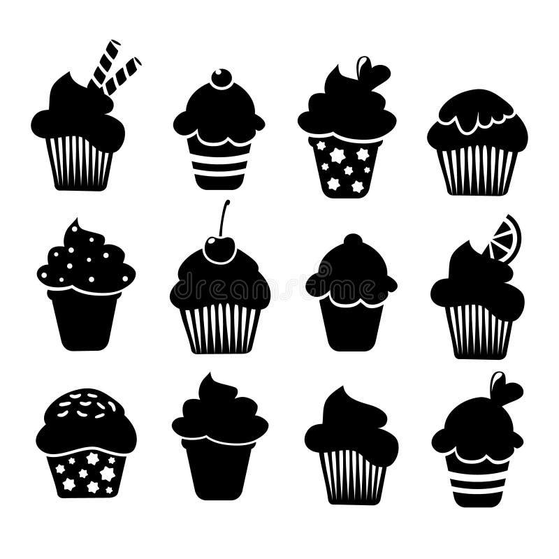 Ensemble d'icônes de petits gâteaux d'isolement par noir,  illustration libre de droits