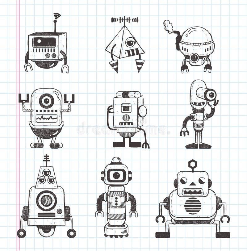 Ensemble d'icônes de robot de griffonnage illustration de vecteur