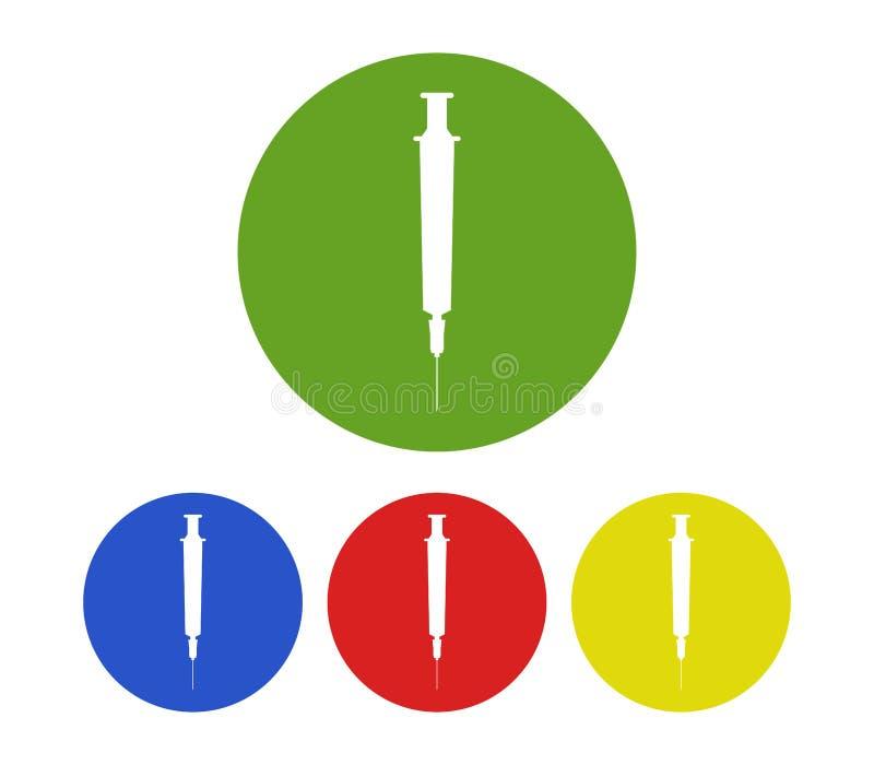 Ensemble d'icônes de seringue illustrées illustration stock