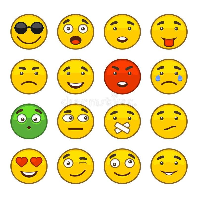 Ensemble d'icônes de sourire d'Emoji réglées Vecteur illustration de vecteur