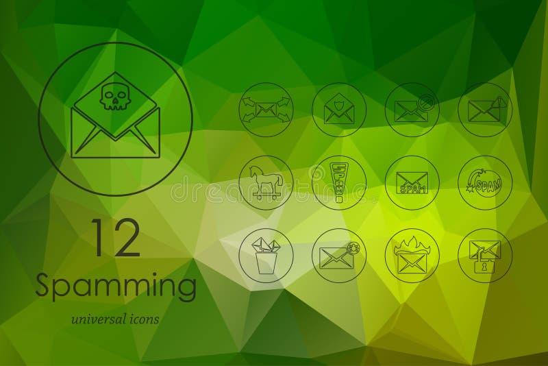Ensemble d'icônes de Spamming illustration stock
