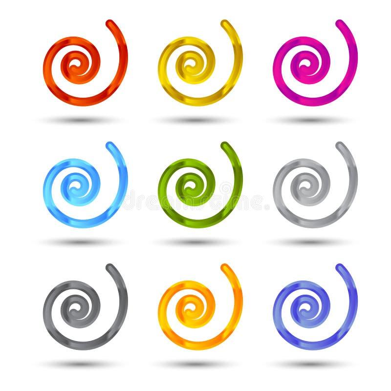Ensemble d'icônes de spirale et de remous illustration stock