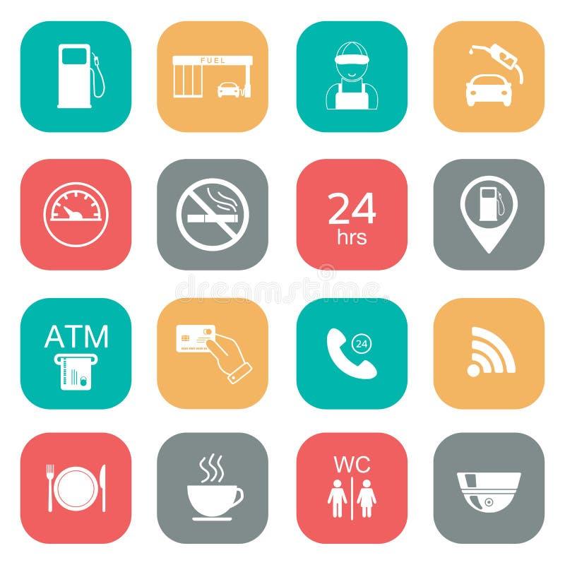 Ensemble d'icônes de station service Icônes de glyph de carburant couleur plate Vecteur illustration de vecteur
