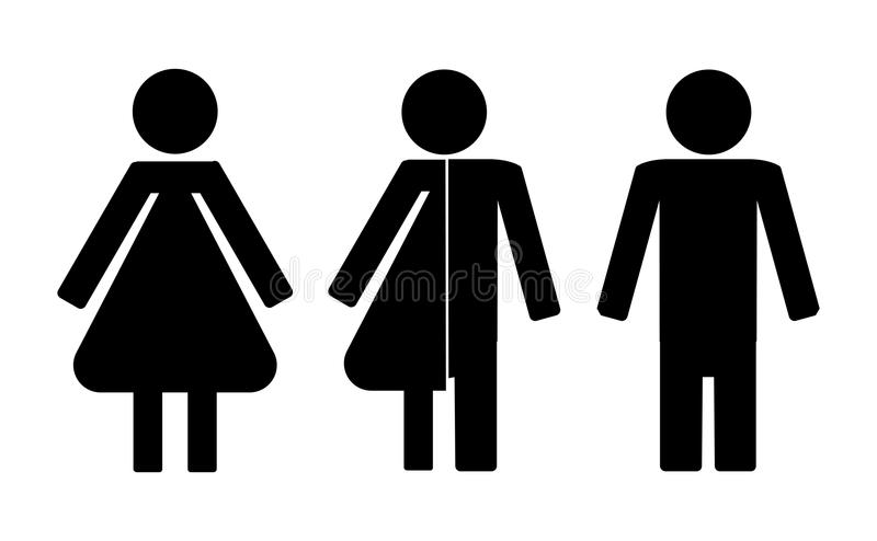 Ensemble d'icônes de toilettes comprenant l'icône de neutre de genre illustration libre de droits