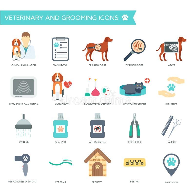 Ensemble d'icônes de vétérinaire et de toilettage avec des noms Conception plate Vecteur illustration libre de droits