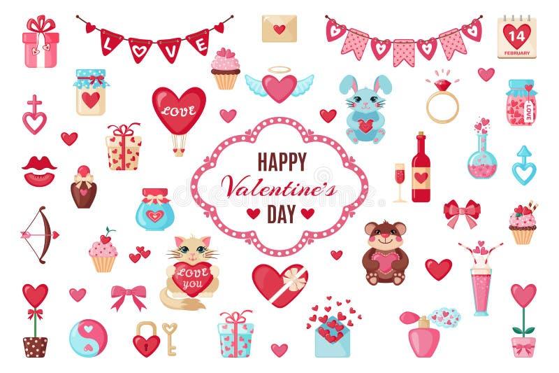 Ensemble d'icônes de valentines dans le style plat illustration de vecteur