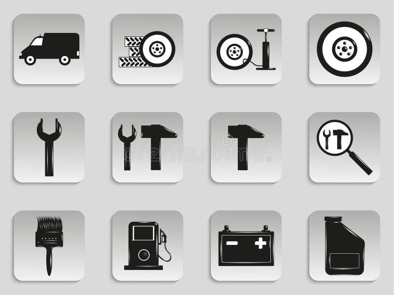 Ensemble d'icônes de vecteur sur le thème de la réparation de transport illustration de vecteur