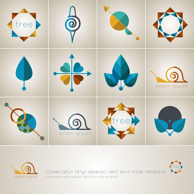 Ensemble d'icônes de Web avec les éléments naturels, logos de vecteur illustration libre de droits