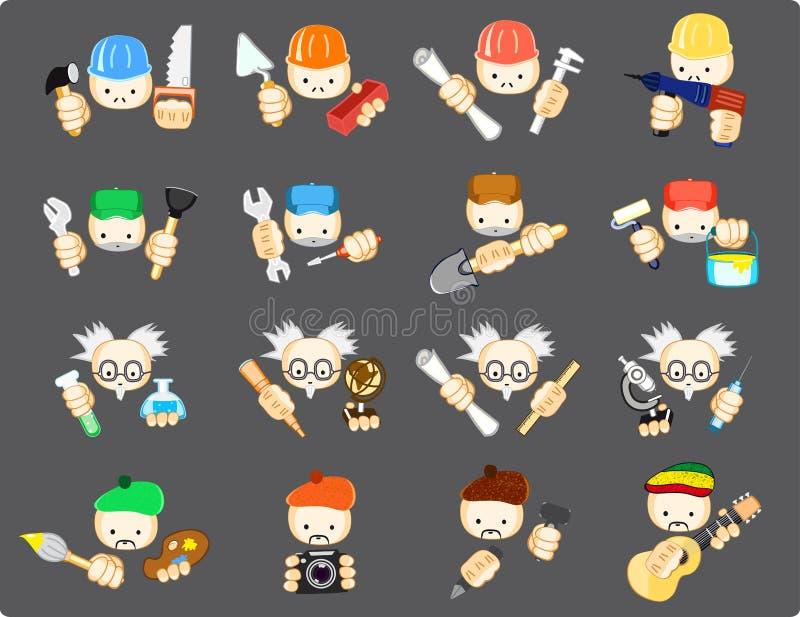 Ensemble d'icônes des professions illustration stock