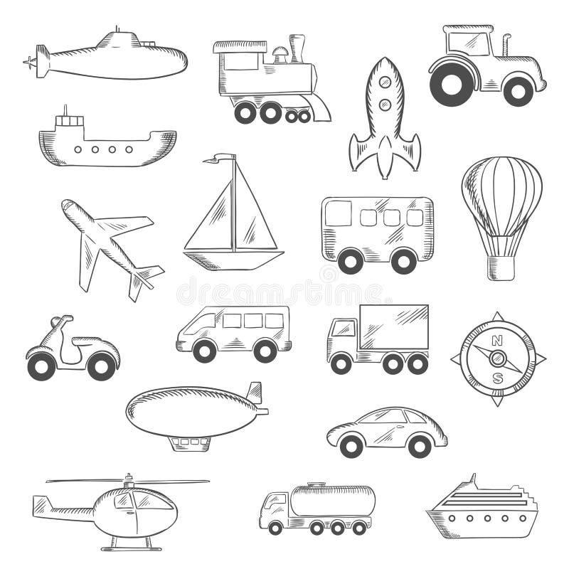 Ensemble d'icônes esquissées d'isolement de transport illustration de vecteur