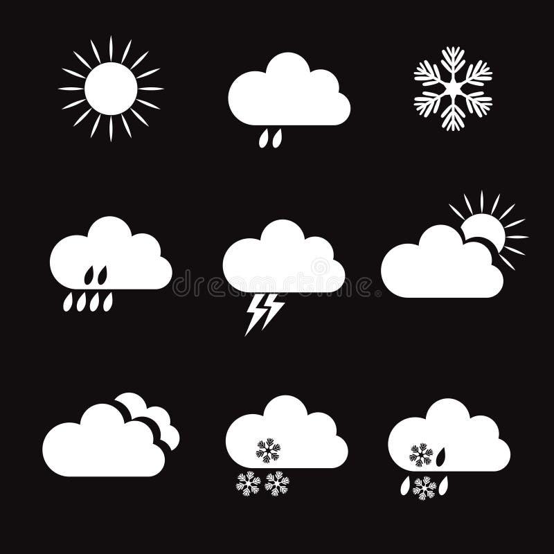 Ensemble d'icônes et d'éléments blancs de temps de vecteur illustration libre de droits