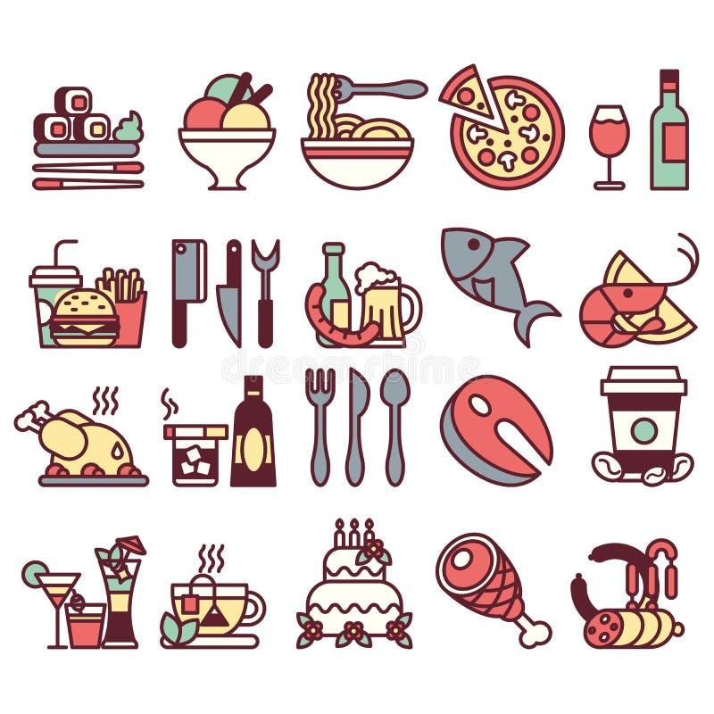 Ensemble d'icônes et d'éléments plats avec la nourriture et boissons pour le restaurant ou le message publicitaire coloré et avec illustration libre de droits